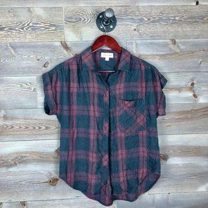 Cloth & Stone Plaid Short Sleeve Top